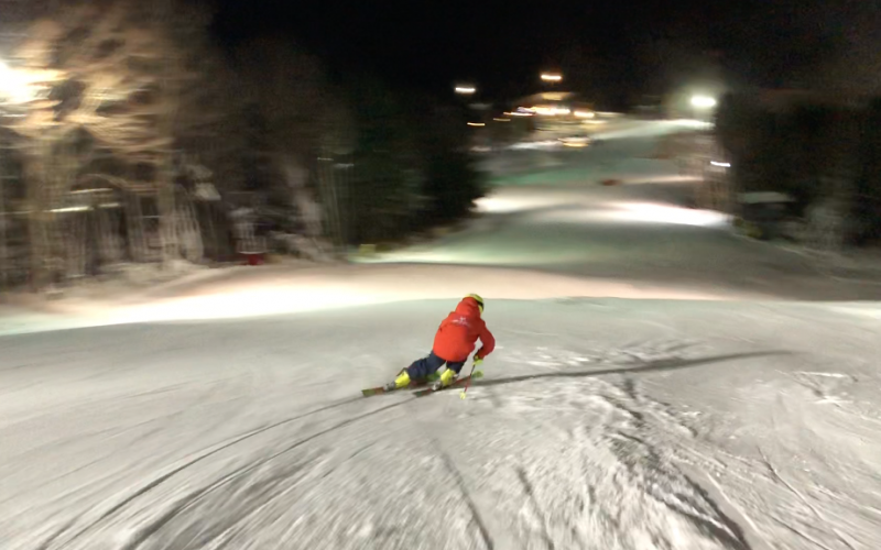 U12 Ski Racer at night